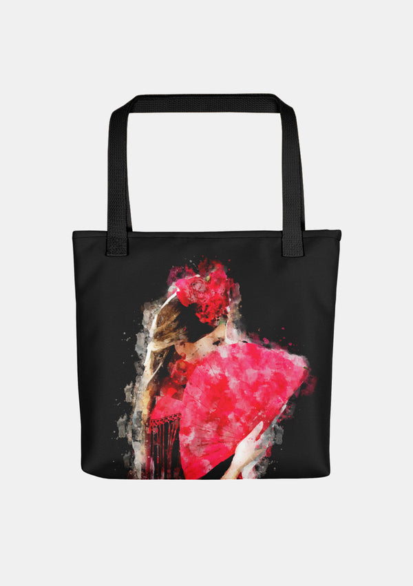 Flamenco Tote bag with Flamenca Hand fan watercolor