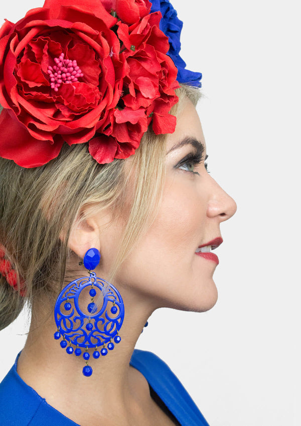 Spanish acetate blue earring