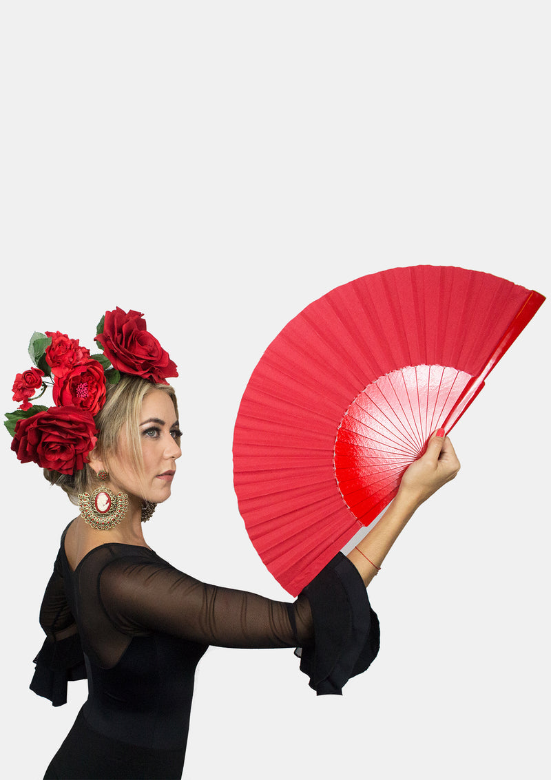 12 inches hand fan red