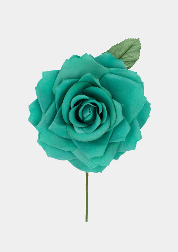 Flamenco Flower Rose 7 inches aqua