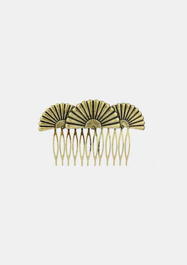 Spanish Comb Gold Hand fan shape