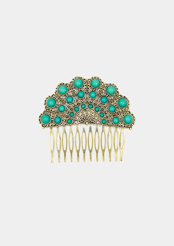 Spanish Comb Gold blue Hand fan shape