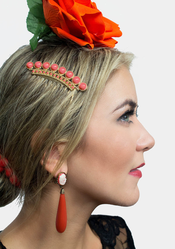 Flamenco comb gold coral metal