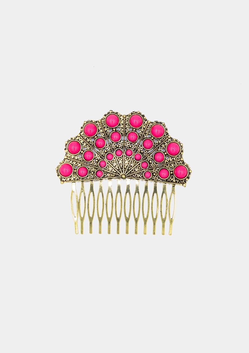 Spanish Comb Gold Fucsia Hand fan shape