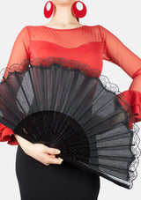 Spanish hand fan pericon black with lace