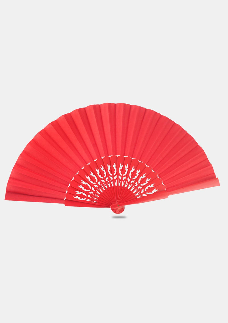 Large red pericon hand fan