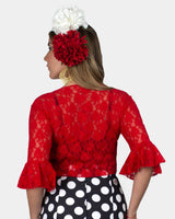Red Lace Flamenco Blouse crossed with ruffle on the sleeves