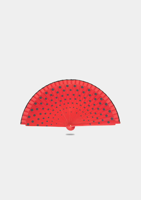 Red polka dot hand fan