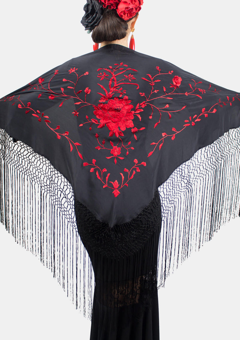 Flamenco triangle red black shawl