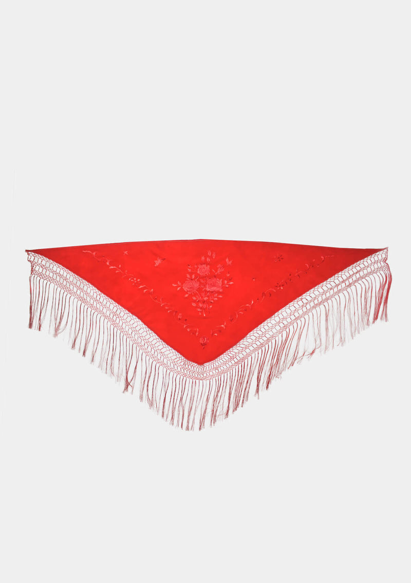 Shawl triangle 100% natural silk and hand embroidered red / red
