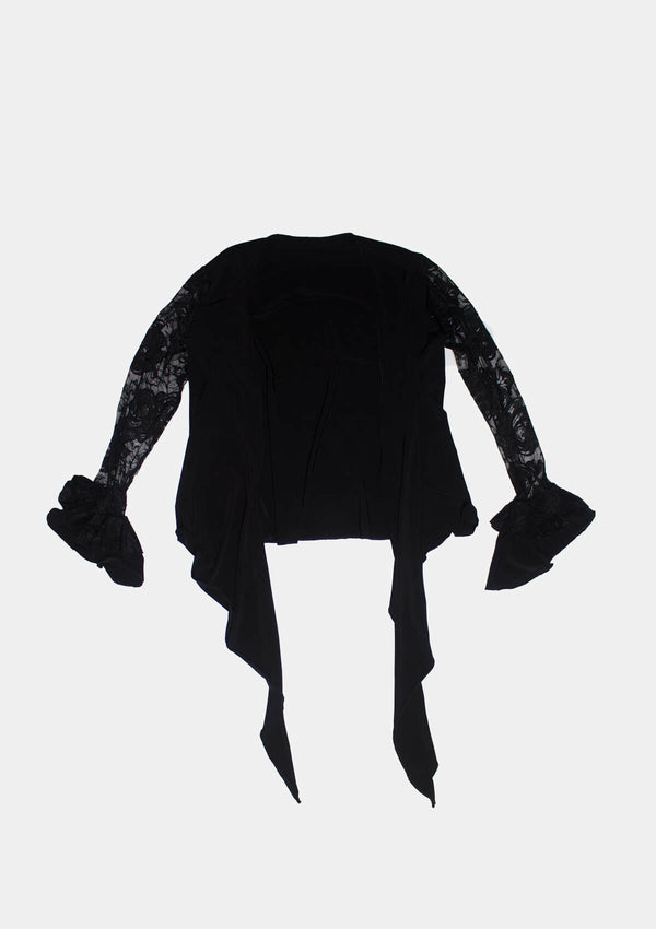 Flamenco Blouse solid and lace black slim fit
