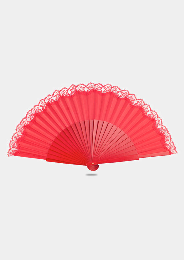 Spanish wooden lace hand fan red
