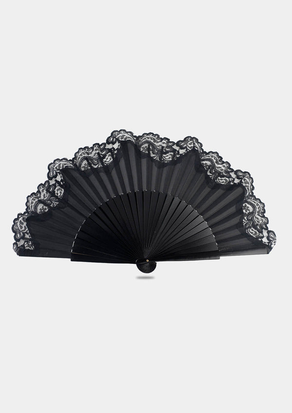 Semi Pericon black with lace hand fan