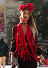 Flamenco red shawl