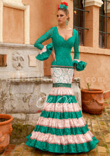 "Flamenco Sevillana Turquesa ""Canestero"" Gown Dress"