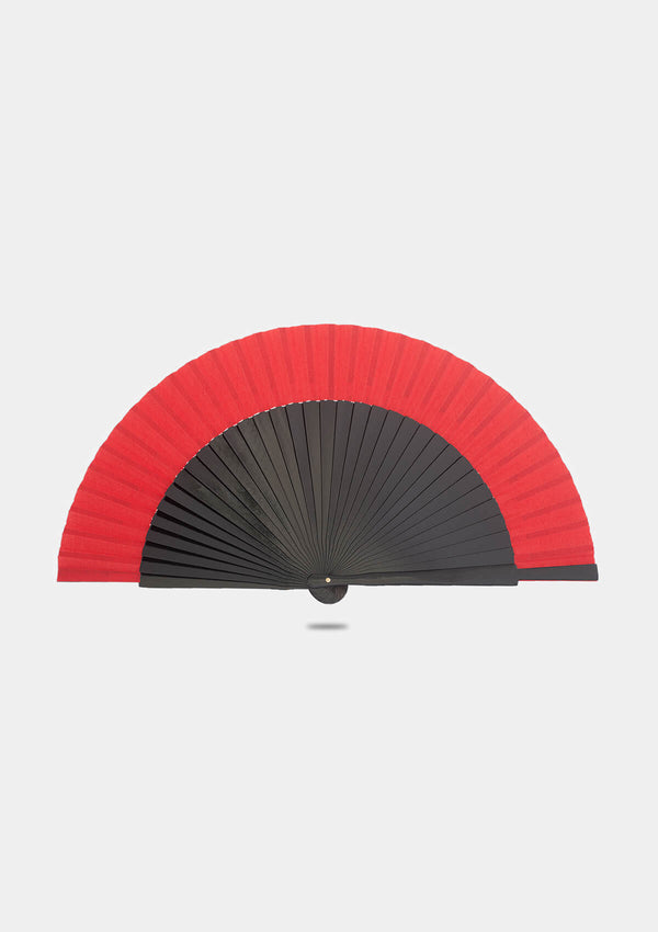 Spanish wooden black hand fan with red border