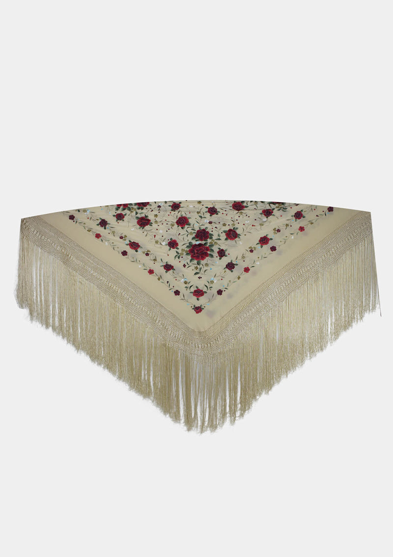 Flamenco shawl beige color