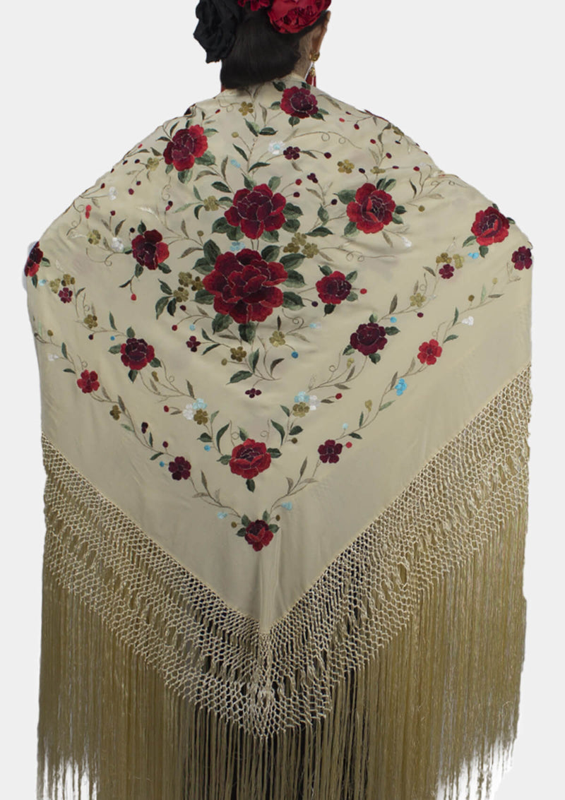 Flamenco shawl Silk Hand Embroidered 140x140 cm