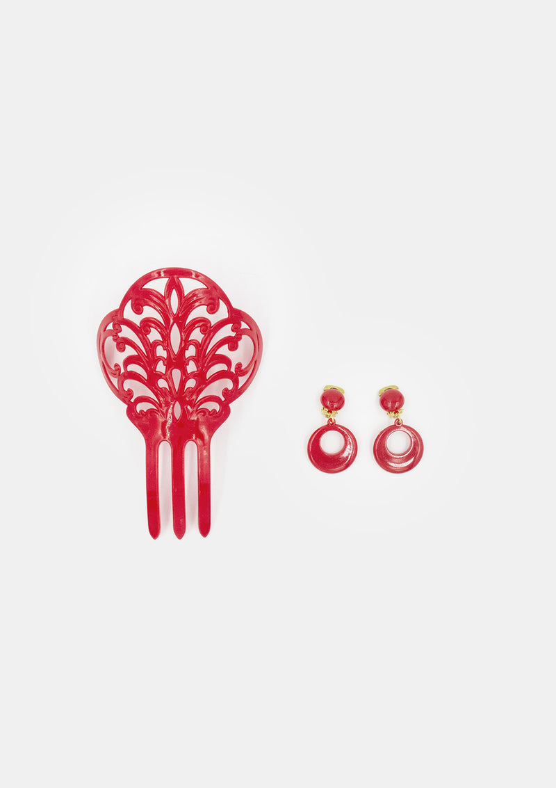 Flamenco comb girl red with earrings clip model