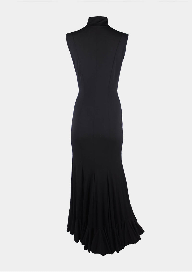 Black Flamenco Dress High Neck and one Ruffle dance and practice