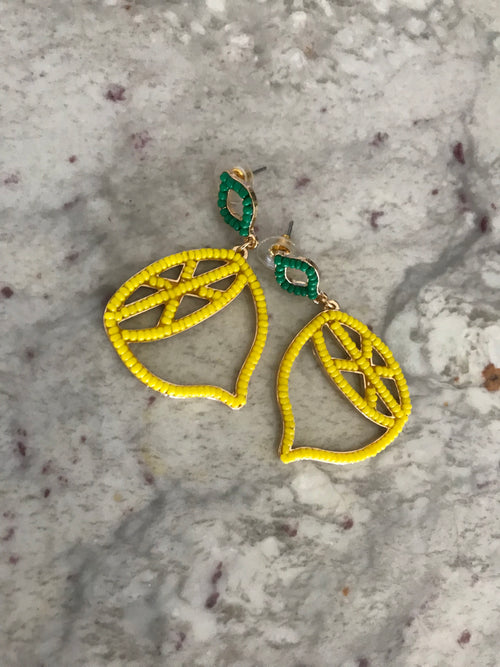 Yellow Beaded Lemon Earrings