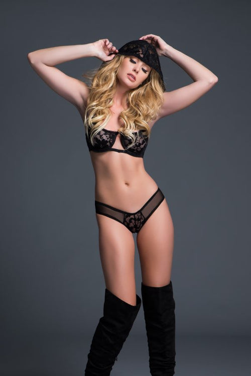 flirty & coy hooded lace bra and panty