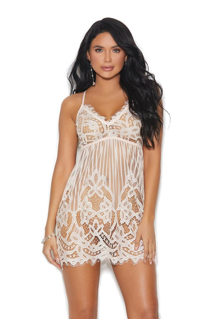 Blush Sheer Lace Detail Deep V Babydoll