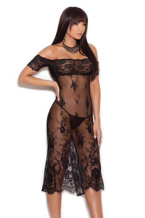 Lace Sheer Off The Shoulder Tea Length Gown