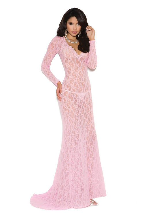 Pink Long Sleeve Lace Gown Lingerie