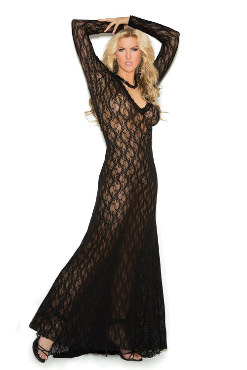 Black Long Sleeve Lace Gown Lingerie