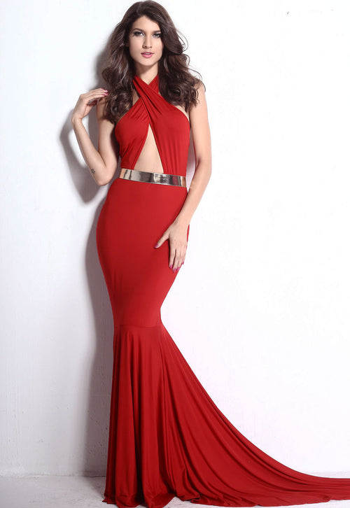 Red Keyhole Cut Out Backless Gown