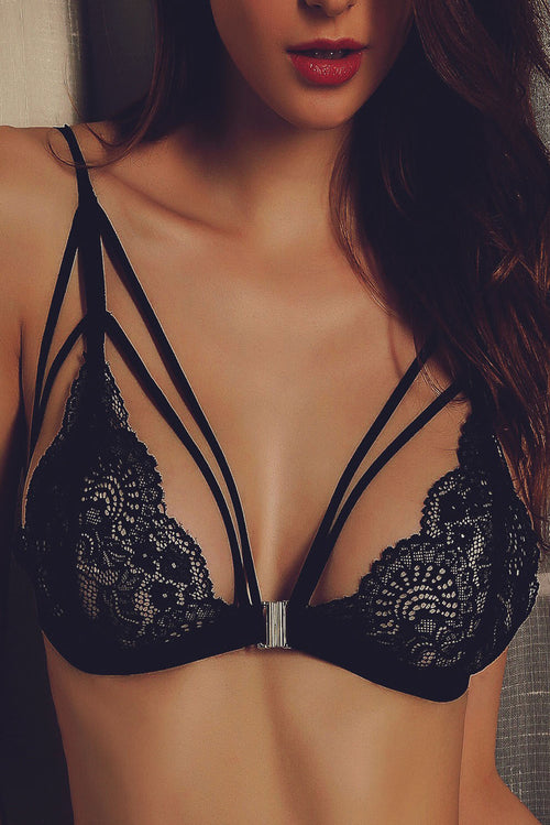 Black Lace Strappy Bralette