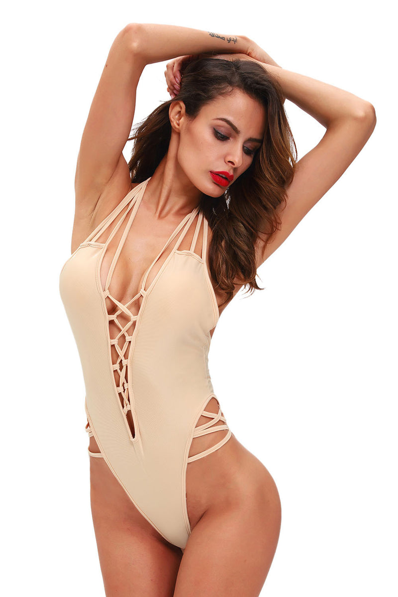 Tan Lace Up Bodysuit