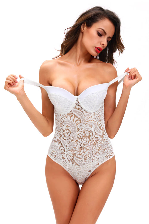 White Crochet Push Up Bustier Bodysuit Teddy