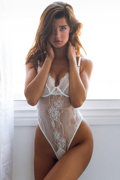White Lace Bustier Bodysuit Teddy
