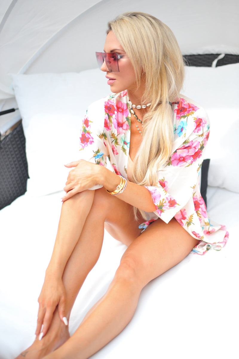 Cream Floral Kimono Lightweight Cover Up