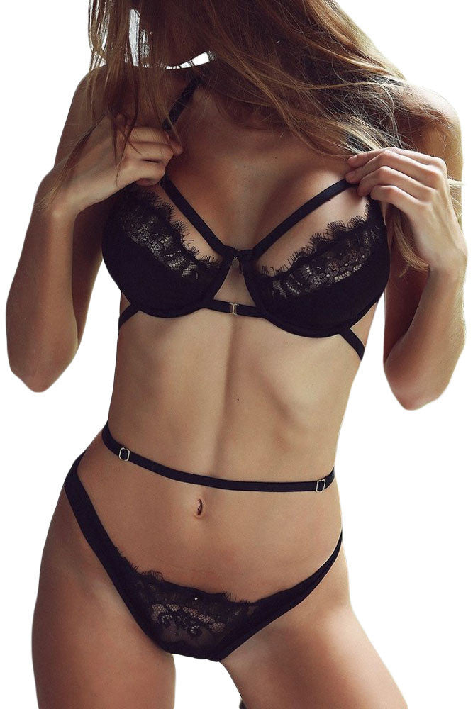 aa4f7a451d Black Lace Strappy Cut out Underwire Bralette Set Bra Lingerie Thong ...