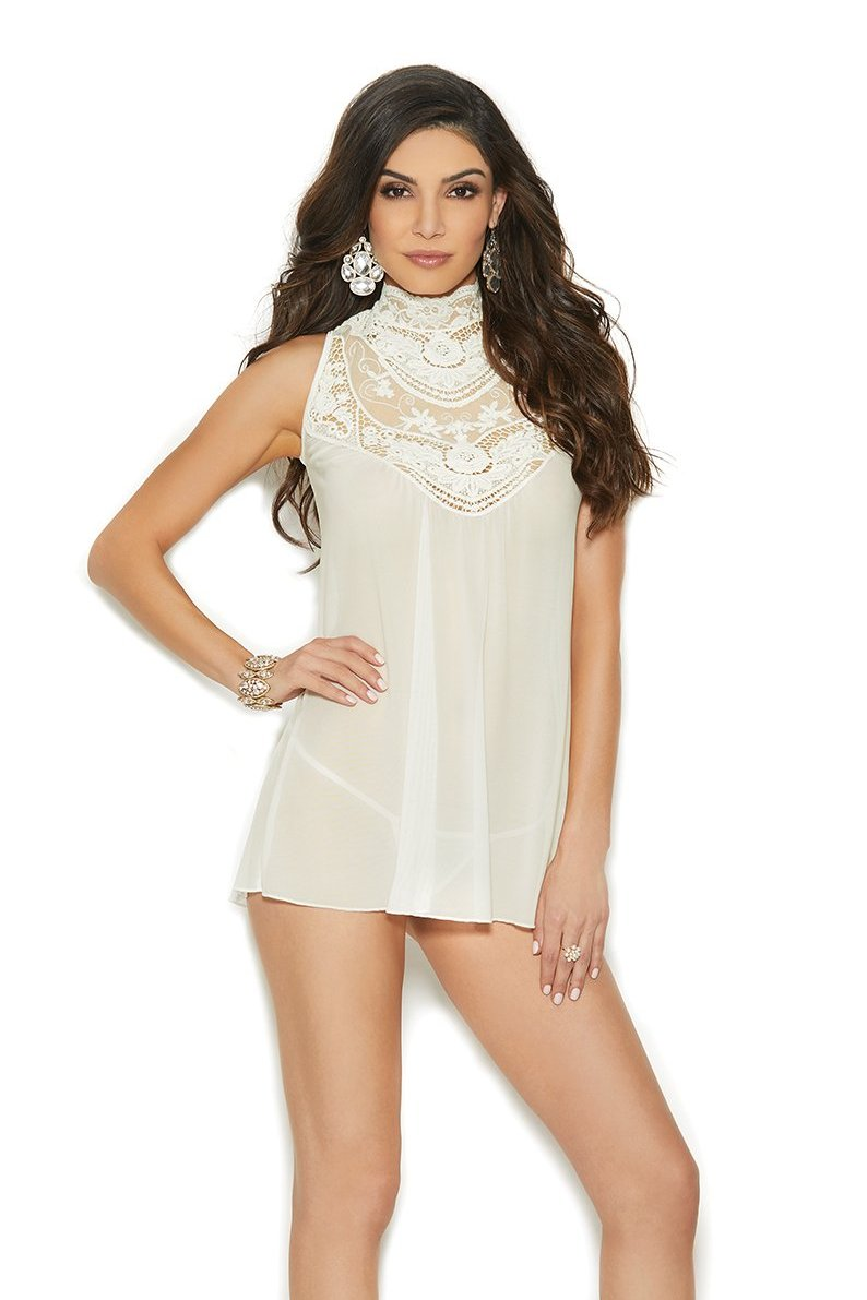 Ivory Mesh Mock Neck Babydoll Embroidered Detail