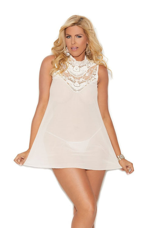 Ivory Mesh Mock Neck Babydoll Embroidered Detail Plus Size
