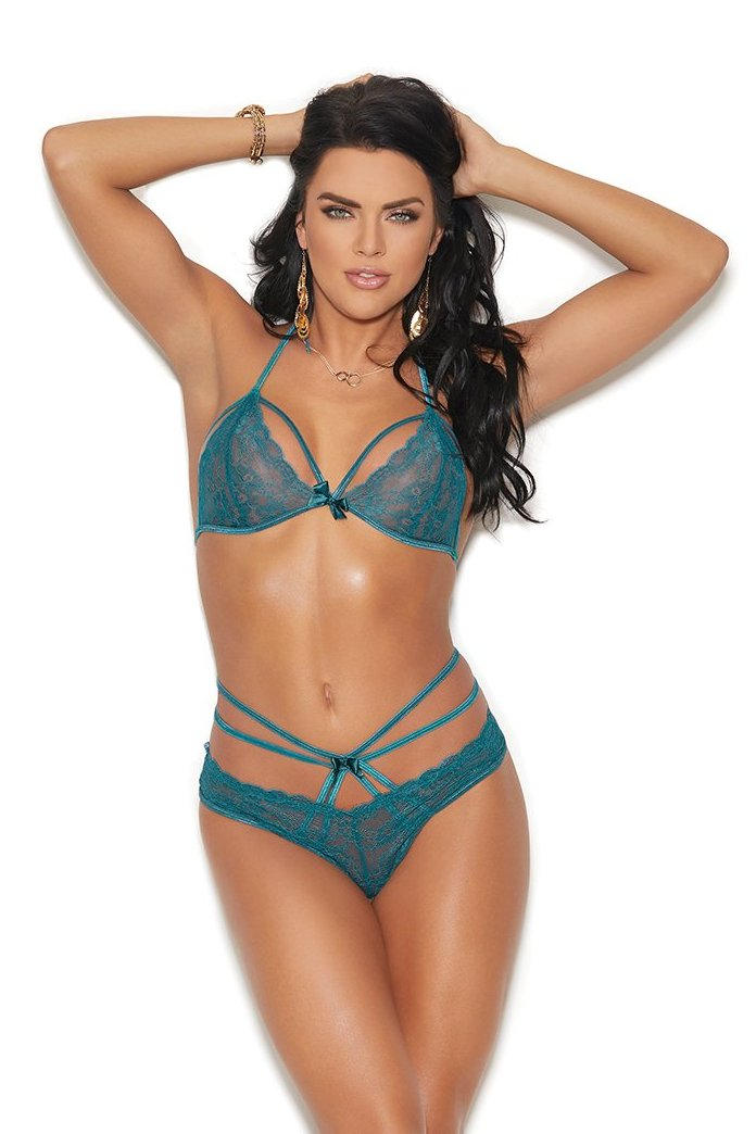 Jade Lace Halter Bra Satin Bow Set