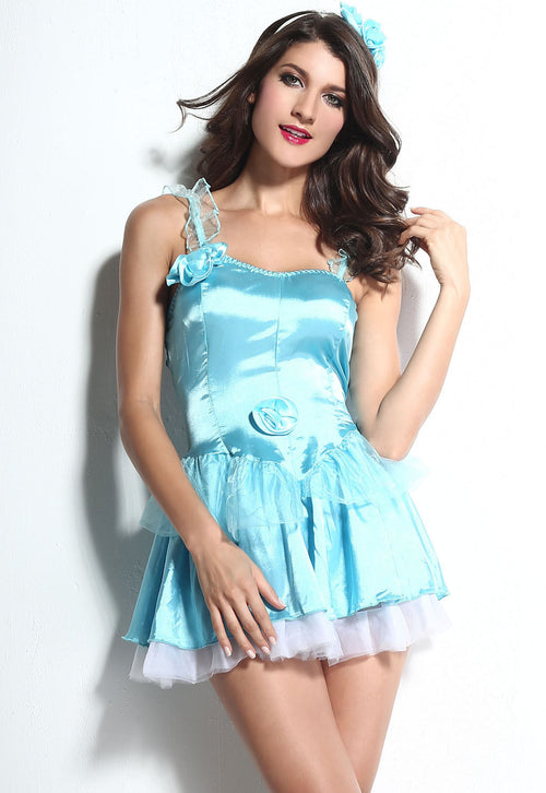Cinderella Fairy Tale Disney Princess Halloween Costume Mini Dress One Size 8863