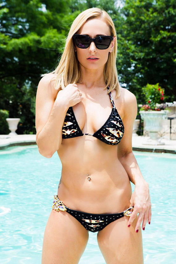 Black Gold Bikini Swimsuit Animal Print Handmade Custom Swarovski Bikini B2029