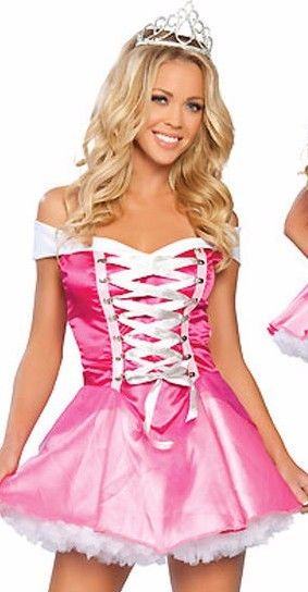 Pink Aurora Sleeping Beauty Princess Halloween Costume Mini Dress One Size 8843