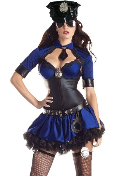 Cop Halloween Costume Black and Blue Wet Look Shaper Skirt