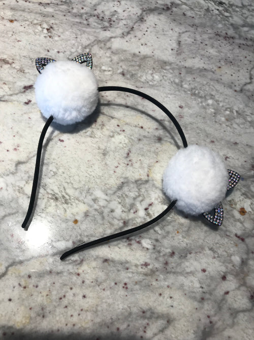 White Bunny Ear Headband With Rhinestones