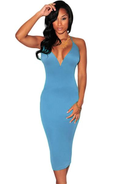 Light Blue Deep Neckline Corset Cocktail Dress