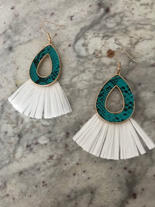 Gold Teal Snake White Fringe Earrings