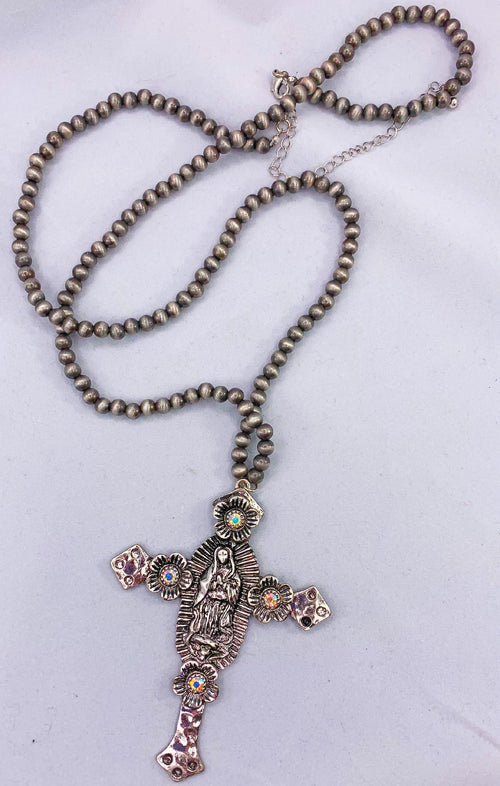 Cross Necklace on rosary chain necklace