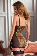 Animal Print Chemise Black Sheer Leopard Underwire