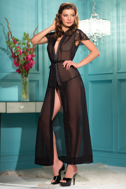 Black Sheer Full Length Robe Gown Lace Lingerie